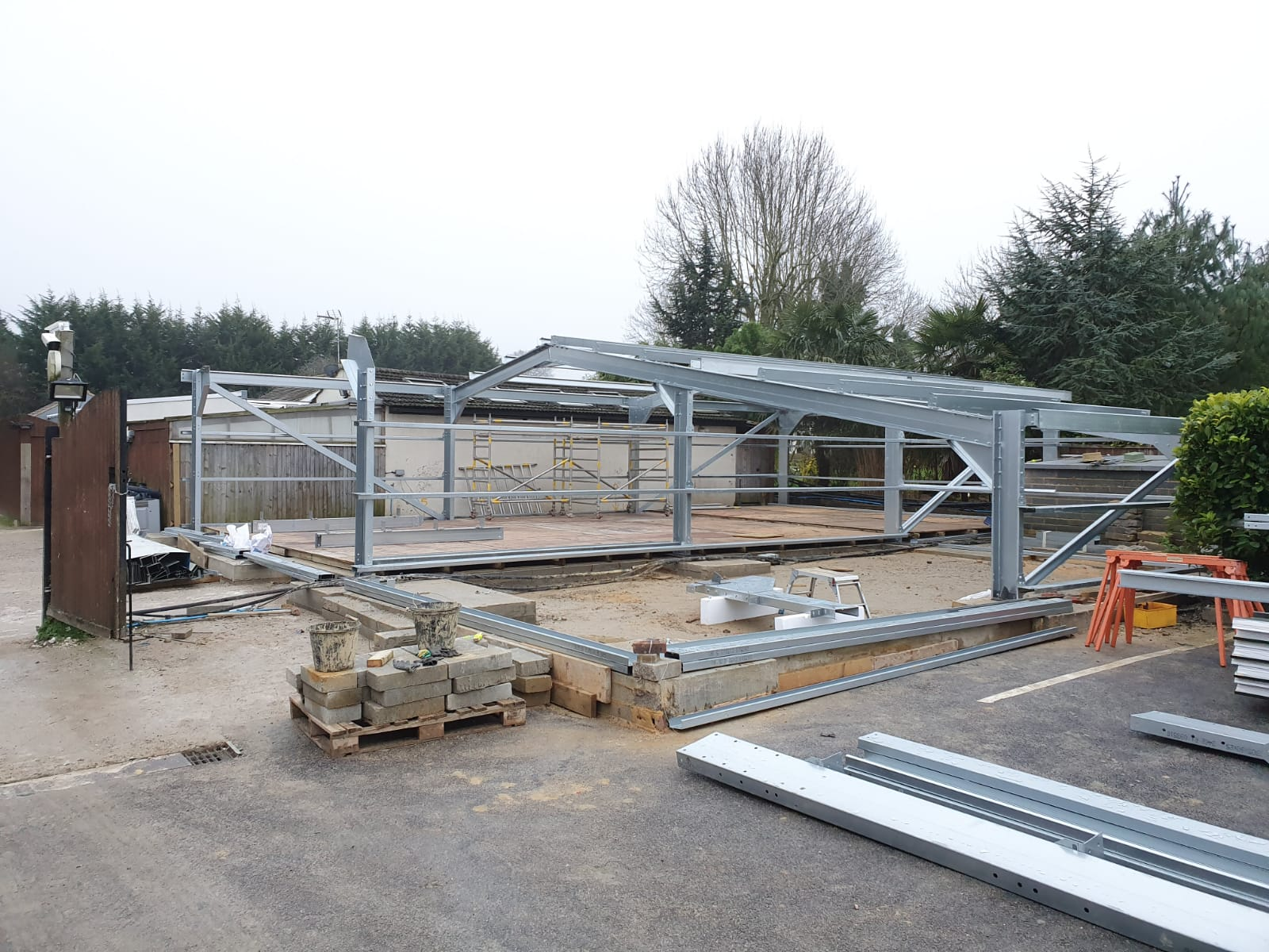 Galvinised Steel Frame being installed