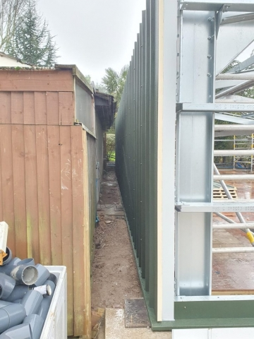 Cladding Installed in tight area